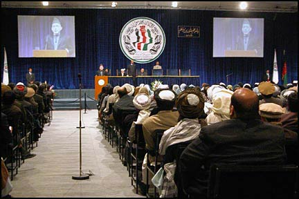 The inside of the Loya Jirga tent during a speech of Hamid Karzai in June 2002.
